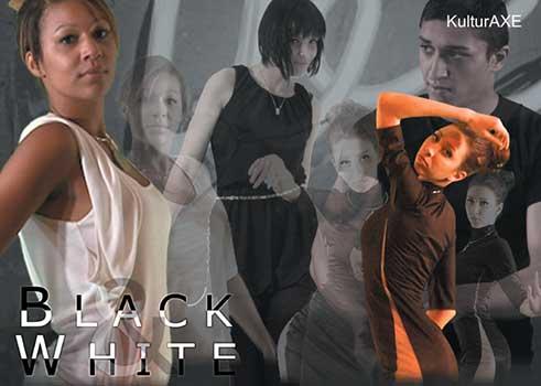 Einladungskarte, Ausstellung Black & White, KulturAXE, Grafik und Foto: Mascha Fekete